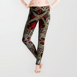 trendy stylish luxury girly glam red silver rhinestone Leggings