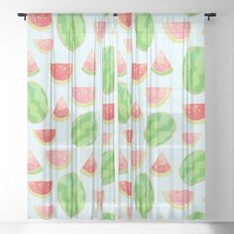 Juicy Watermelon Pattern with Gold Sheer Curtain