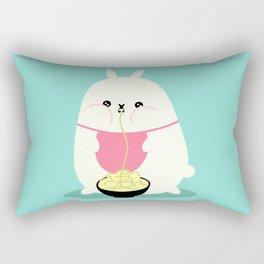 Fat bunny eating noodles Rectangular Pillow