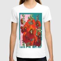 southwest T-shirts featuring Orange Hollyhocks Southwest  Garden by SharlesArt