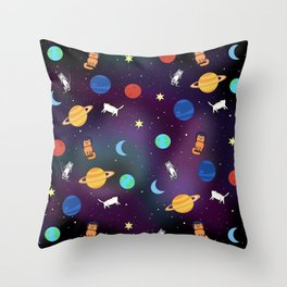 """Cats from outer space!"" Galaxy Print Throw Pillow"