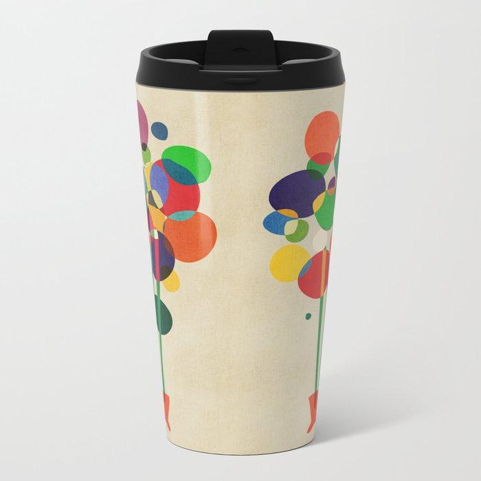Happy flowers in the vase Metal Travel Mug