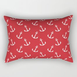 Nautical modern red white trendy anchor pattern Rectangular Pillow