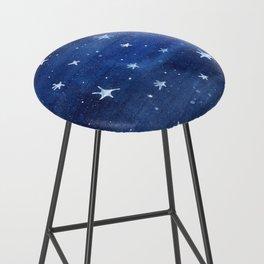Midnight Stars Night Watercolor Painting by Robayre Bar Stool