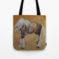 pony Tote Bags featuring Gypsy Pony by Michael Creese