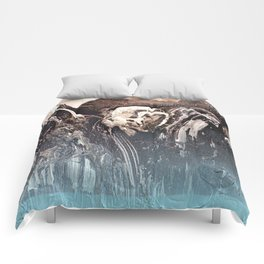 Blue Glow // abstract texture painting modern Comforters