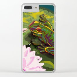 Frog on lily pad Clear iPhone Case