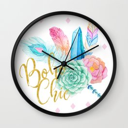 Boho chic brush script girly bohemian blue and pink flowers and feathers Wall Clock