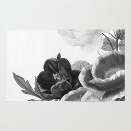 grayscale poenies and roses Rug