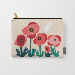Poppy flowers and bird Carry-All Pouch