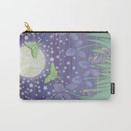 Moonlit stars, luna moths, snails, & irises Carry-All Pouch