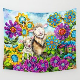 Sheep in the Summer Garden Wall Tapestry