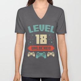 Level 18 Unlocked - 18th Birthday Gift Unisex V-Neck
