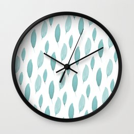 Turquoise Leaves Wall Clock