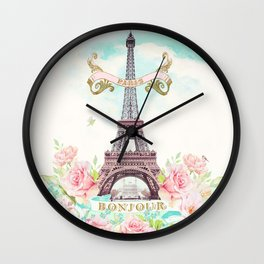 Eiffel Tower in Spring Wall Clock