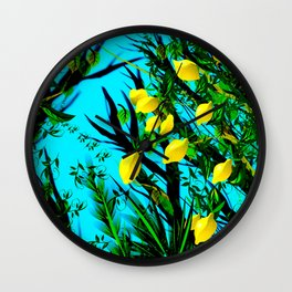 Lemon tree digital illustration Wall Clock