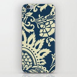 damask in white and blue vintage iPhone Skin