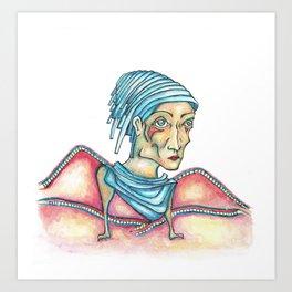 Blue Hat Woman Art Print