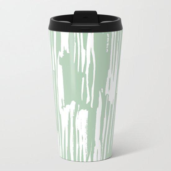 Bamboo Stripe Pastel Cactus Green and White Metal Travel Mug
