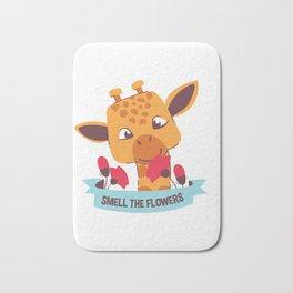 Smell The Flowers Cute Baby Giraffe Bath Mat