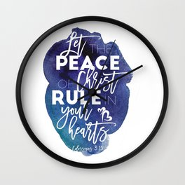 Bible verse watercolor typography blue background Colossians 3:15 Wall Clock