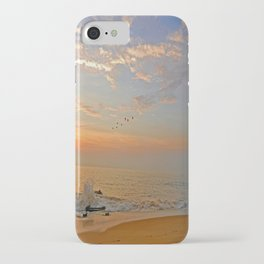 Sunrise at the ocean with jetty and birds - minimalist landscape photography iPhone Case