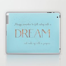 Always remember to fall asleep with a dream - Gold Teal Vintage Glitter Typography Laptop & iPad Skin
