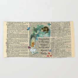 Alice In Wonderland Quote - Imagination - Dictionary Page Beach Towel