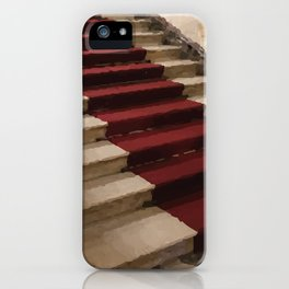 Stairs with red carpet iPhone Case