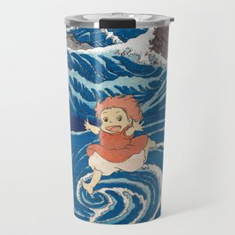 Ponyo and vintage japanese woodblock mashup Travel Mug
