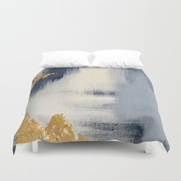 Blue and Gold Ikat Abstract Pattern #2 Duvet Cover