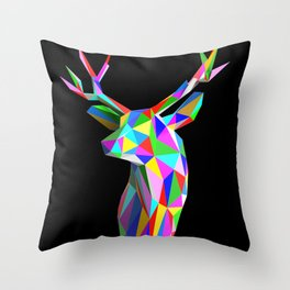 3D Stag Black Background Throw Pillow