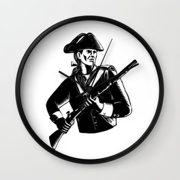 American Patriot Scratchboard Wall Clock