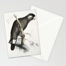 Calyptorhynchus baudinii -Calyptorhynchus baudinii Baudins Cockatoo -by Edward Lear 1812-1888 Stationery Cards