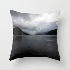 Clouded Fjord Throw Pillow