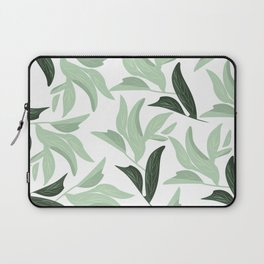 Abstract modern green pastel color leaves floral Laptop Sleeve