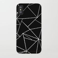 Abstract Dotted Lines White on Black iPhone X Slim Case