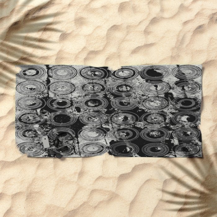 Urban Rings IV - Black and white textured abstract Beach Towel