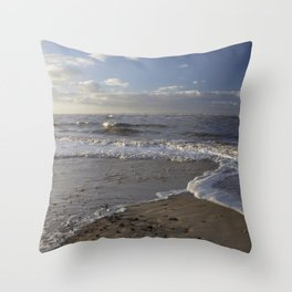 Wave Split on the Beach Throw Pillow
