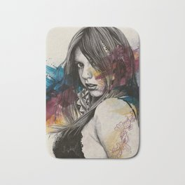 Untitled #23719 (sexy girl in black bra) Bath Mat