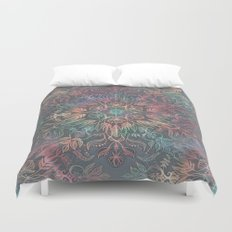 Winter Sunset Mandala in Charcoal, Mint and Melon Duvet Cover