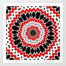 Bizarre Red Black and White Pattern Art Print