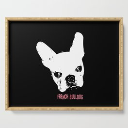 French Bulldog on black Serving Tray