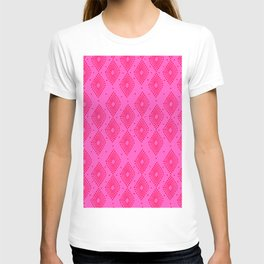 Mudcloth Dotty Diamonds in Neon Pink + Red T-shirt
