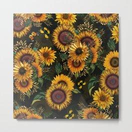 Vintage & Shabby Chic - Midnight Sunflower Garden Metal Print