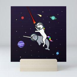 Unicorn Riding Narwhal In Space Mini Art Print
