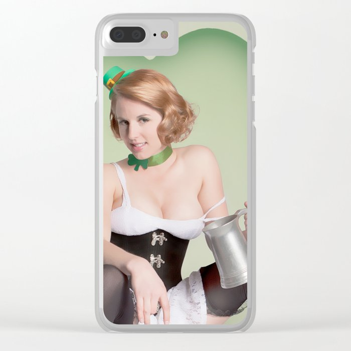 """Luck of the Irish"" - The Playful Pinup - St. Patrick's Day Pinup Girl by Maxwell H. Johnson Clear iPhone Case"