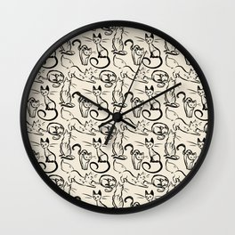 Sketch Cats Wall Clock