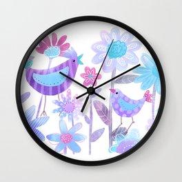 Birds in Flower Garden -blue Wall Clock