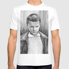 Stranger Things Eleven Watercolor Painting Black and White MEDIUM White Mens Fitted Tee